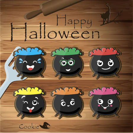 Top view of the table with cookies for Halloween. Vector illustration of a wooden table. Gingerbread witch pots with poison of different colors for the holiday. Cartoon faces with different emotions on sweets for children. Happy Halloween. Tricks and treat Ilustrace