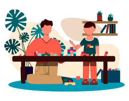 father and son play together at the table in the constructor. flat design illustration of a man and boy figure in a home interior with potted flowers, furniture and children s toys. Vector image of a family for father s day. Time with children at home
