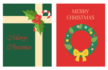 Christmas greeting card in flat style. Bright illustration with a gift from Santa Claus and a Christmas tree wreath with toys. Poster for greetings, parties, sales, or web ads. Chirstmas Simple Typography Greeting Poster
