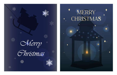 Christmas greeting card in flat style. Dark blue background with stars and silhouettes of candle holders and Christmas lanterns. Stylish romantic illustration with Christmas sleigh, flowers, candy and garlands. Poster for greetings, parties, sales, or web ads. Chirstmas Simple Typography Greeting Poster
