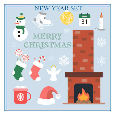A set of flat illustrations for new year and Christmas. Vector set of isolated images with a fireplace, Christmas socks, snowman, gifts, snowflakes, skates, toys, a Cup of cocoa. Bright objects for a postcard, ad, sale, or website with a new year s theme. Happy Winter Holidays poster. New year