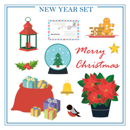 A set of flat illustrations for new year and Christmas. Vector set of isolated images with poissentia, gifts, holiday cookies, snow globe, Christmas lantern, letter to Santa Claus. Bright objects for a postcard, ad, sale, or website with a new year s theme. Happy Winter Holidays poster. New year