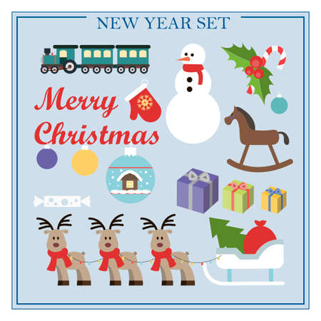 A set of flat illustrations for new year and Christmas. Vector set of isolated images snowman, sleigh, deer, gifts, train, Christmas toys, mittens, horse. Bright objects for a postcard, ad, sale, or website with a new year s theme. Happy Winter Holidays poster. New year