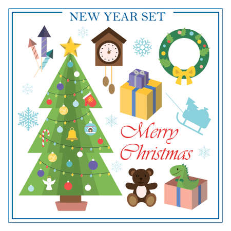 A set of flat illustrations for new year and Christmas. Vector set of isolated images Christmas tree, Christmas wreath on the door, Packed gifts under the tree, clock, firecrackers. Bright objects for a postcard, ad, sale, or website with a new year s theme. Happy Winter Holidays poster. New year