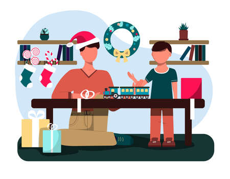 Father and son unpacking Christmas gifts. Flat illustration of a Christmas card. Cozy interior with Christmas decorations, sweets, Packed boxes, a wreath and a snow globe. An illustration for a greeting, new year s website, app, or ad. Ilustrace