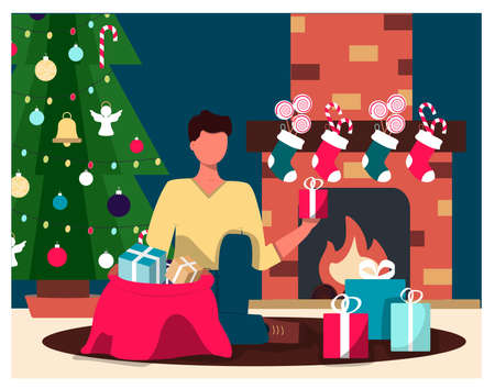 A man on the background of a Christmas tree and a fireplace takes out Christmas gifts. Flat illustration of a Christmas card. Cozy interior with Christmas decorations. Fireplace with holiday socks and candy. An illustration for a greeting, new year s website, app, or ad.Vector illustration Ilustrace