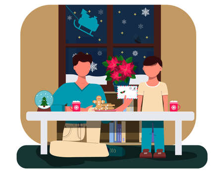 Father and son write a letter to Santa Claus. Flat illustration of a Christmas card. Cozy interior with Christmas decorations. Table with a Cup of cocoa, cookies, and pasantia snow globe. An illustration for a greeting, new year s website, app, or ad. Santa s sleigh window