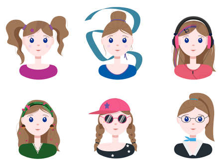 A set of different young girls. Flat illustration with girls with different professions and different fashions. Vector cartoon image. Cute beautiful girls with hairstyles. Characters with different characters for children, schools, ads, apps.