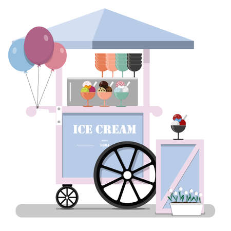 Flat cute ice cream cart. Diner in the Park, at the fair, street and festival. Vector illustration in pastel pink and blue tones. Point of sale of ice cream, Gelato, ice and milkshakes. Cold ice cream for children and adults on a walk in the fresh air. 矢量图像