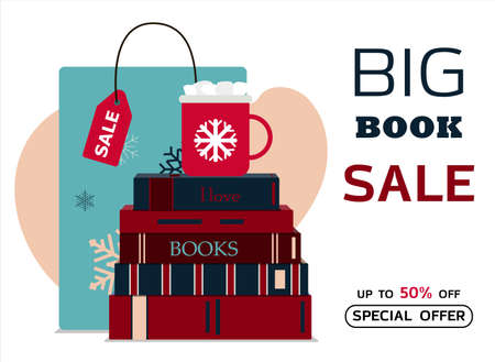 Big book sale. Vector illustration of a stack of books and a Cup of cocoa with marshmallows. Banner for new year s sale, black Friday, or Christmas discounts. Flat design. Bright advertising with a paper bag with snowballs, red books and a new year s Cup of coffee.