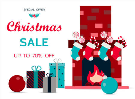 Big Christmas sale of toys for children. Black Friday discounts for a website, store, or app with children s products. Bright holiday banner with a train, fireplace, sweets, toys, Christmas balloons and bright gifts. Banner for an ad, flyer, or booklet. Online store with home delivery.