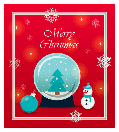 Beautiful Christmas card with toys and gifts. Flat illustration for a website, store, or app with children s products. Bright holiday banner with a snow ball, snowman, snowflakes, Christmas balls and bright gifts. Banner for an ad, flyer, or booklet. Greeting card for Christmas or new year 2021.