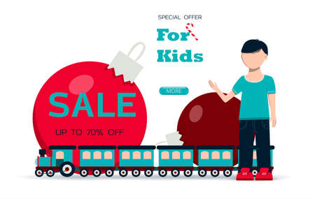 Big Christmas sale of toys for children. Black Friday discounts for a website, store, or app with children s products. Bright holiday banner with a train, a little boy, Christmas balloons and bright gifts. Banner for an ad, flyer, or booklet. Online store with home delivery.