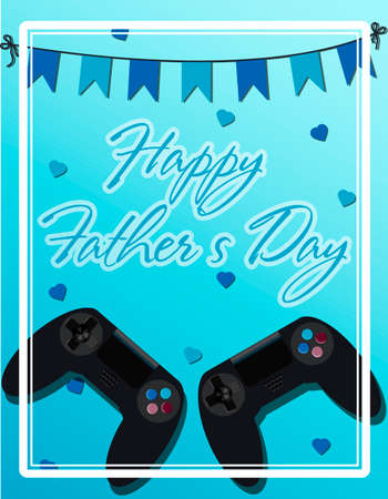 Top view of a background with joystick for the game. The inscription is the happy father s day. Greeting card for defender s day, international men s day. Brutal bright illustration for men s banner, website or advertising. Vector illustration in flat style with hearts, garlands and greetings Stock Illustratie