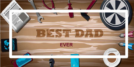 Top view of a background with sports equipment. The inscription is the best dad. Sports fan table with Darts, water bottle, baseball, coffee, hammer, pliers, key, screwdriver. Greeting card for father s day, international men s day. Brutal bright illustration for men s banner, website or advertising. Vector illustration in flat style.