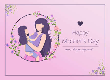 Card for the international mother s day. Vector illustration with text, flowers and greetings. A woman holds a little girl in her arms, mother and daughter. Illusztráció