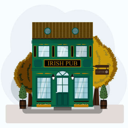 Irish pub exterior vector illustration. Flat design of facade. Beer house building concept. Emerald two-story restaurant in the European style. Illustration of a city street. St. Patrick s Day.