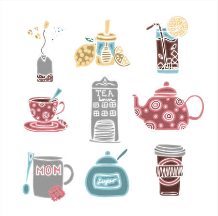 Big set of hand drawn coffee and tea doodles. A set of isolated vector drawings for tea drinking and making all kinds of coffee. A set of isolated vector drawings for tea drinking and making all kinds of coffee. Making coffee with a French press, a turk and a geyser coffee maker.