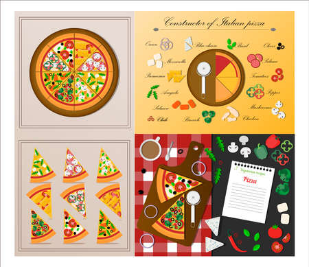 A set of flat slices of pizza. Vector illustration of assorted pizza. Cut pieces of an Italian dish with tomatoes, chicken, salami, salmon, cheese, pepper, chili, onion, arugula, Basil and mushrooms.