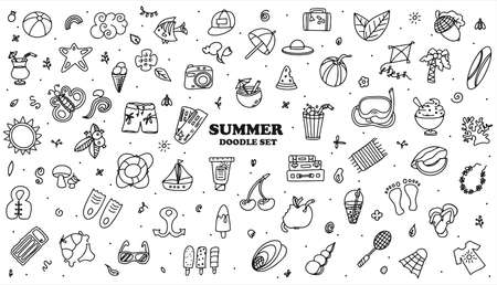 A Big vector doodle summer set. Hand draw accessories for beach holidays by the sea. Flat design Illustration for ads, web, flyers, and banners. Set of drawn by hand icons. Summer fruits, food, transport, diving items and clother. Vektoros illusztráció