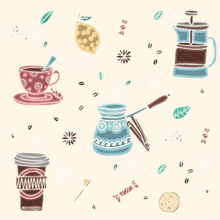 Seamless pattern of hand drawn coffee and tea doodles. A set of isolated vector drawings for tea drinking and making all kinds of coffee. A set of isolated vector drawings for tea drinking and making all kinds of coffee. Making coffee with a French press, a turk and a geyser coffee maker.
