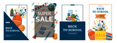 Back to school. Advertising banner, sale, online store, web. Stationery for school, university and office. Cartoon school supplies. Flat illustrations for elementary school. Bright cut out cliparts. Big vector set.