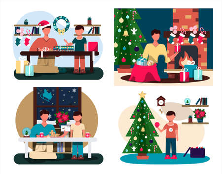 Father and son write a letter to Santa Claus. Flat illustration of a Christmas card. Cozy interior with Christmas decorations. Table with a Cup of cocoa, cookies, and pasantia snow globe. An illustration for a greeting, new year s website, app, or ad. Santa s sleigh window Vektoros illusztráció