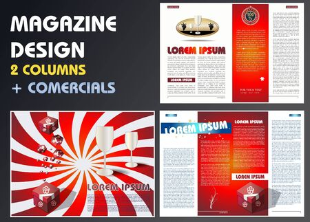 spreading: Magazine layout with commercials Illustration