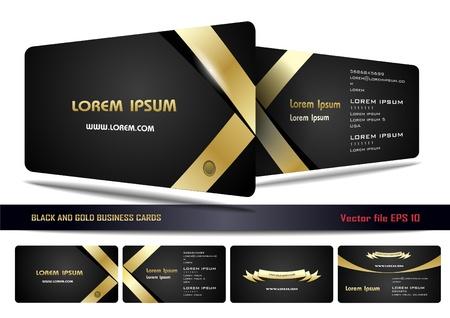 visitekaartje: Zwart en goud visitekaartjes Stock Illustratie