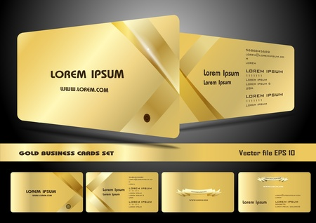 Gold business cards set Illustration