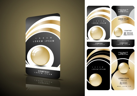Vertical black and golden business cards Vector