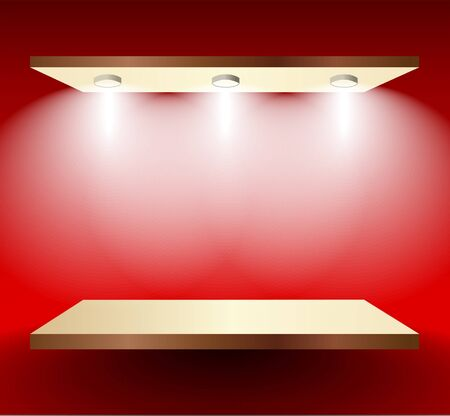 Shelf with lights  on red wall Vector
