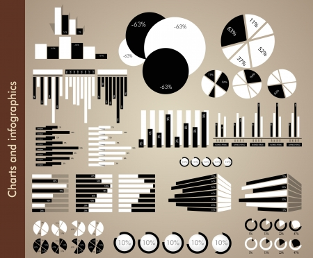 Black and white charts and infographics Vector