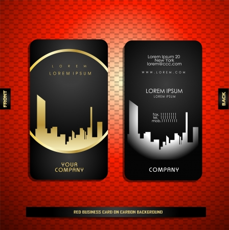 business card template: Black with gold business card on carbon background