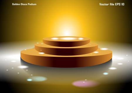 podium: Golden Disco Podium Illustration