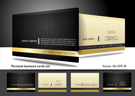 Personal business cards set Çizim