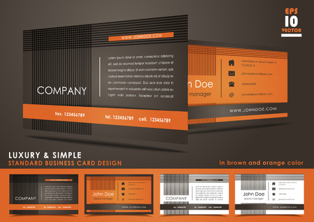 Luxury and simple business card design in in brown and orange color