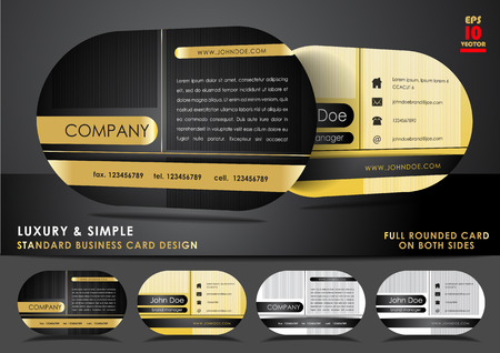 Rounded business card design in black and gold color Illustration
