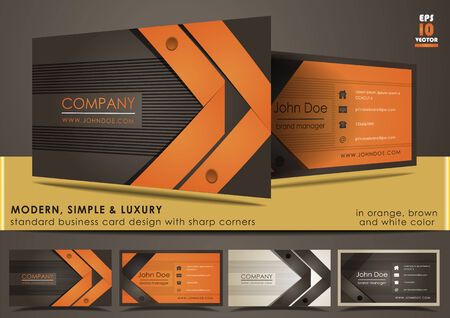 business card: Modern, simple & luxury standard business card design with sharp corners