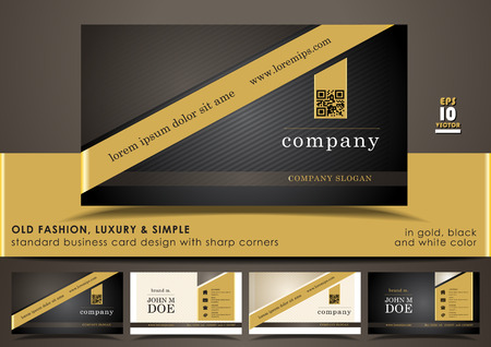 black stripes: Old fashion, luxury & simple standard business card design with sharp corners