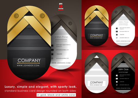 oval  alcohol: Luxury business card design rounded on both sides Illustration