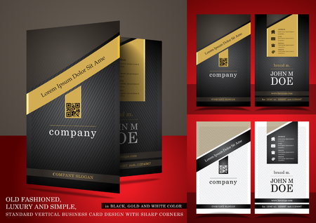 Old fashioned business card in black and gold color