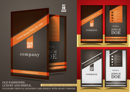 Old fashioned vertical business card design