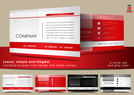 Simple and elegant, standard business card design in white, red and gray color