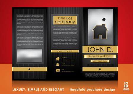 Luxury, simple and elegant threefold brochure design