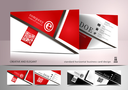 Creative business card design in red and white Illustration