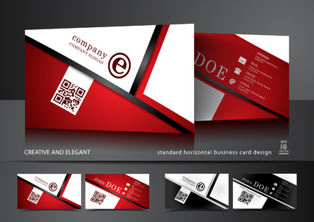 Creative business card design in red and white  イラスト・ベクター素材