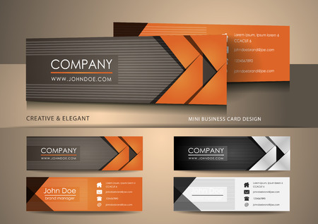 business card template: Brown mini business card design