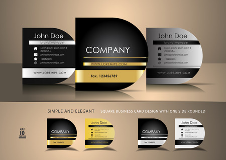 Square business cards with one side rounded