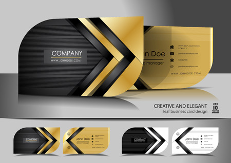 Creative leaf business card design Çizim